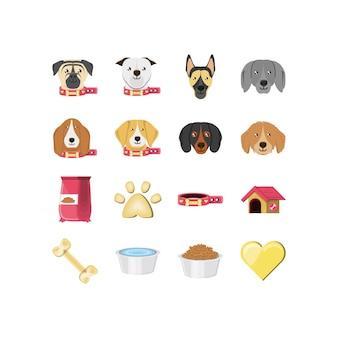 Insieme isolato dell'icona delle mascotte dei cani