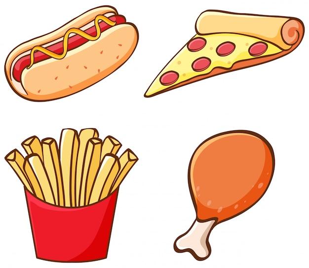 Insieme isolato di fastfood