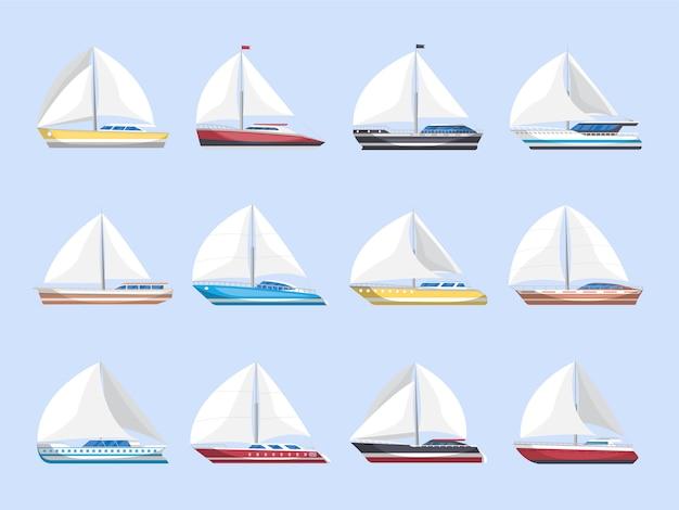 Insieme isolato di vista laterale delle barche a vela del mare