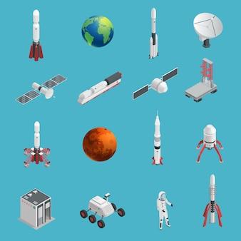 Insieme isolato e colorato dell'icona dello spazio del razzo 3d