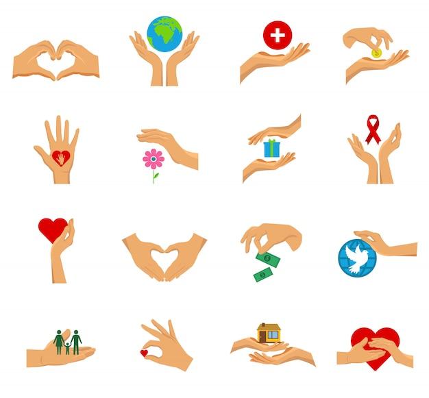 Insieme isolato icona piana delle mani di carità