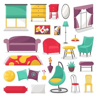 Insieme isolato illustrazione della mobilia del salone e della decorazione interna domestica.