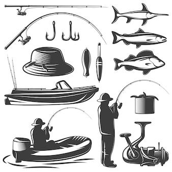 Insieme isolato nero di pesca con attrezzatura del pescatore e della sua cattura