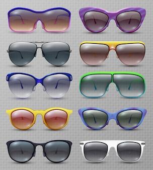 Insieme isolato occhiali da sole e occhiali di moda realistico. della collezione di occhiali da sole e da vista
