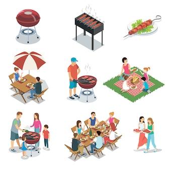 Insieme isolato partito del barbecue della griglia della famiglia