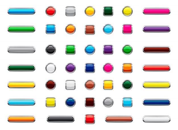 Insieme isolato pulsante web. cartone animato set di pulsante web