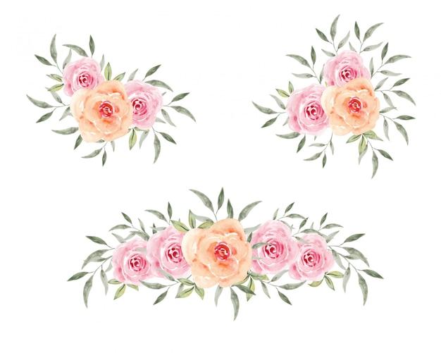 Insieme isolato rose rosa floreali d'annata