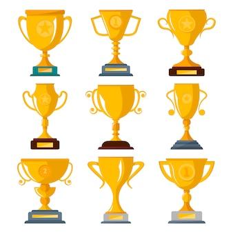 Insieme isolato trofei del campione dorato