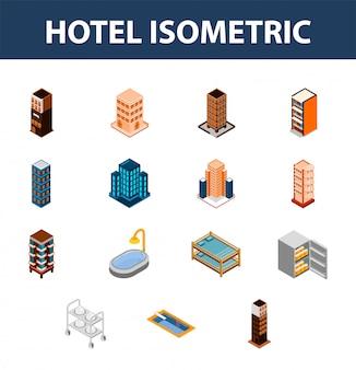Insieme isometrico 3d dell'icona dell'hotel.