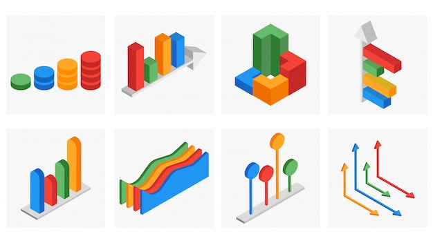 Insieme isometrico 3d di affari infographic.