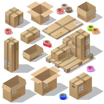 Insieme isometrico 3d di imballaggi in cartone