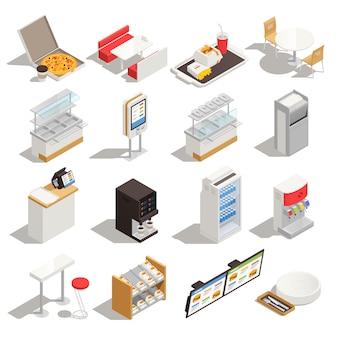 Insieme isometrico degli alimenti a rapida preparazione con gli elementi dell'attrezzatura e del menu della mobilia interna del ristorante di self service isolati