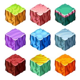 Insieme isometrico degli elementi del paesaggio dei cubi di gioco
