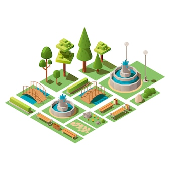 Insieme isometrico degli elementi del parco pubblico