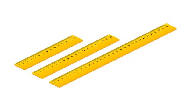Insieme isometrico dei centimetri di righelli di legno con le ombre isolate su bianco.