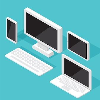 Insieme isometrico del monitor del computer