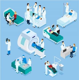 Insieme isometrico del paziente e del medico