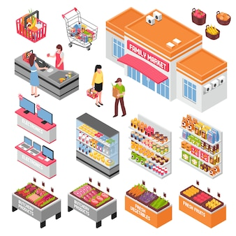 Insieme isometrico del supermercato