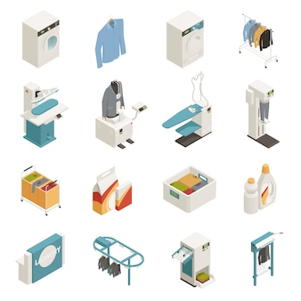 Insieme isometrico dell'attrezzatura di lavanderia