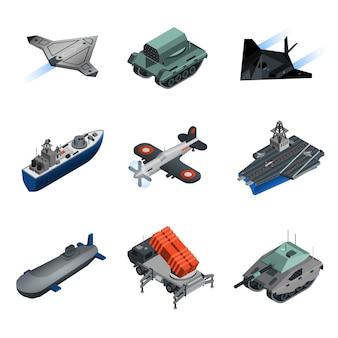Insieme isometrico dell'attrezzatura militare