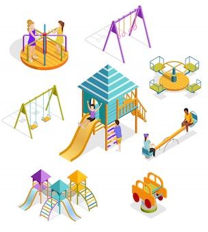 Insieme isometrico dell'icona dei bambini dell'oscillazione