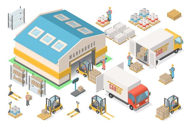 Insieme isometrico dell'icona del magazzino, schema, logistico