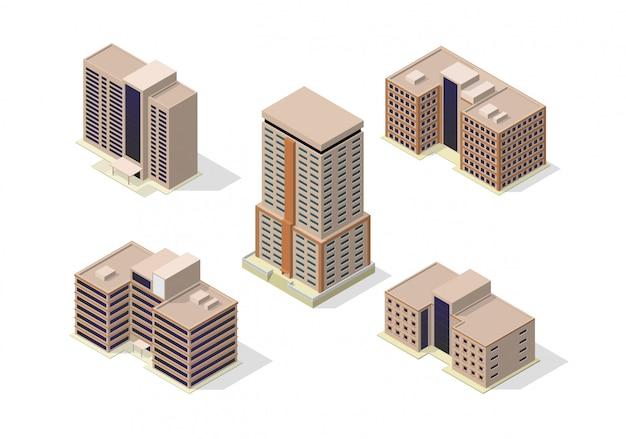 Insieme isometrico dell'icona delle costruzioni dei grattacieli della città