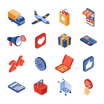 Insieme isometrico dell'icona di consegna del negozio online
