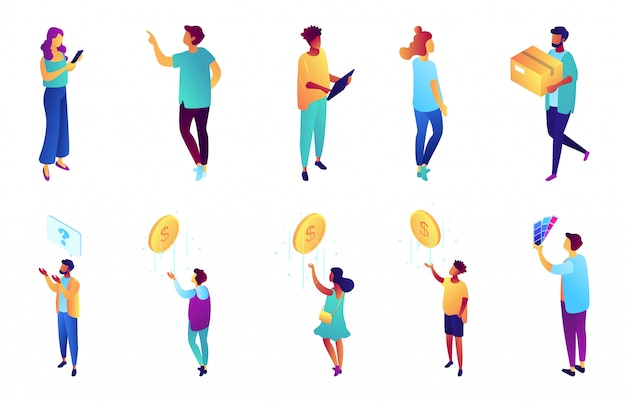 Insieme isometrico dell'illustrazione 3d della gente di affari.