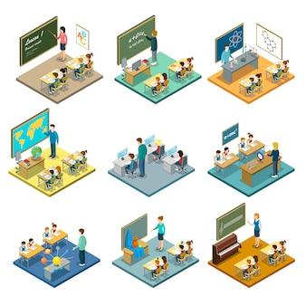 Insieme isometrico dell'illustrazione di istruzione scolastica