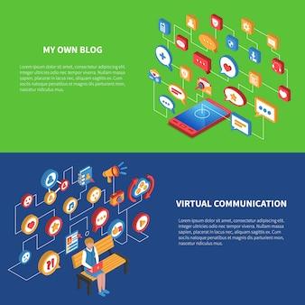 Insieme isometrico dell'insegna della rete sociale