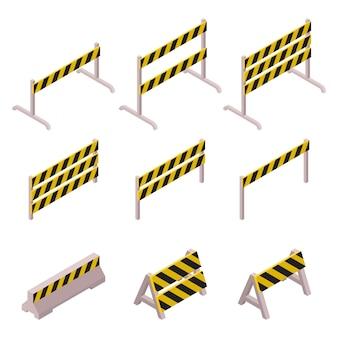 Insieme isometrico della barriera in costruzione isolato su fondo bianco