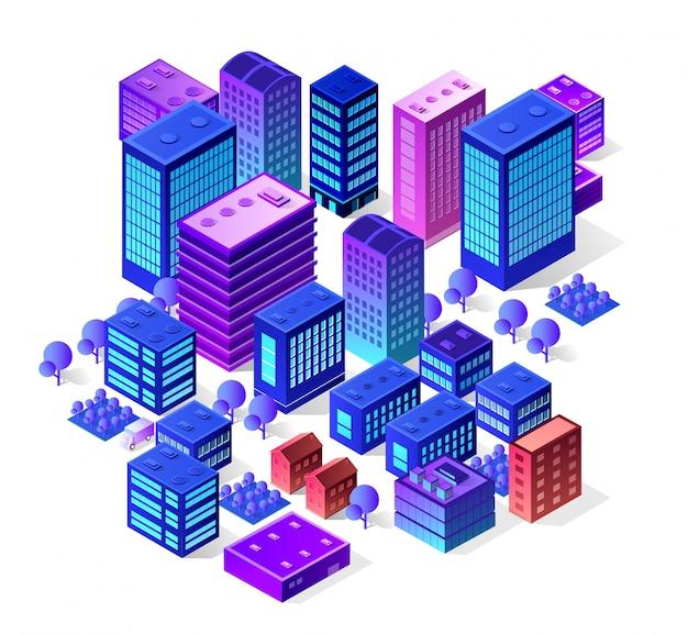 Insieme isometrico della città dei colori viola che costruiscono moderno