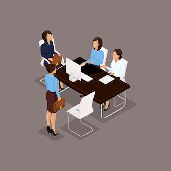 Insieme isometrico della gente di affari delle donne, dialogo, brainstorming nell'ufficio isolato su fondo scuro