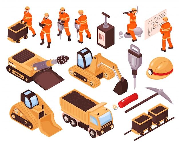 Insieme isometrico delle icone con il macchinario minerario e minatori isolati sull'illustrazione bianca del fondo 3d