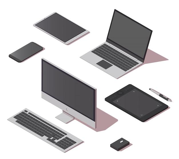 Insieme isometrico delle icone degli oggetti digitali