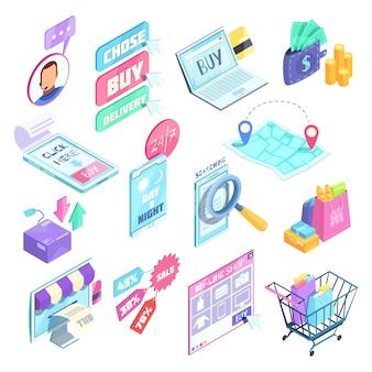 Insieme isometrico di acquisto di internet