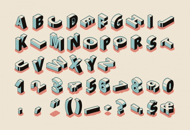 Insieme isometrico di alfabeto inglese con lettere latino abc, simboli speciali, segni di punteggiatura