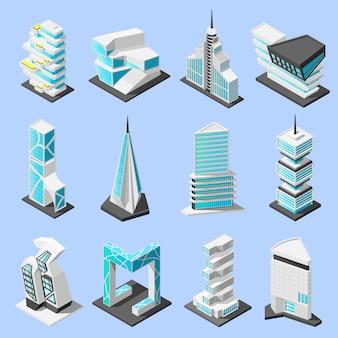 Insieme isometrico di architettura futuristica