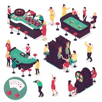 Insieme isometrico di casinò e di gioco con simboli vincenti e perdenti isolati