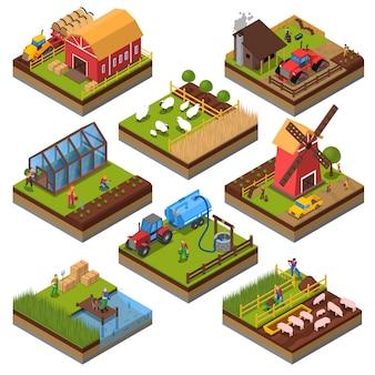 Insieme isometrico di composizioni agricole