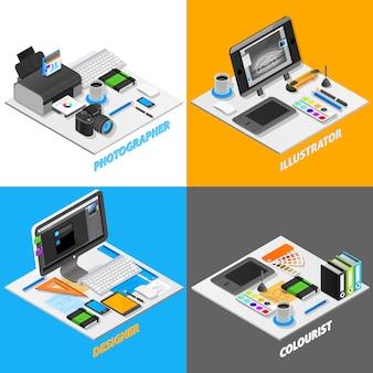 Insieme isometrico di concetto di progettazione grafica