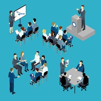 Insieme isometrico di formazione aziendale