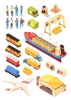 Insieme isometrico di industria di logistica