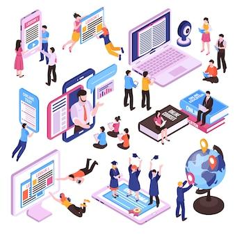 Insieme isometrico di lezioni online di studio della gente facendo uso della compressa e dello smartphone del pc isolati