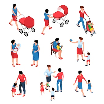 Insieme isometrico di maternità delle giovani donne che fanno da babysitter ai loro piccoli bambini e neonato isolati