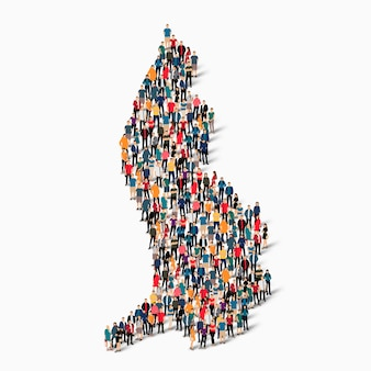 Insieme isometrico di persone che formano mappa del liechtenstein, paese, concetto di infographics web di spazio affollato, piatto 3d. gruppo di punti folla che forma una forma predeterminata.