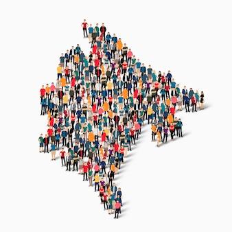 Insieme isometrico di persone che formano mappa del montenegro, paese, concetto di infographics di web di spazio affollato, piatto 3d. gruppo di punti folla che forma una forma predeterminata.