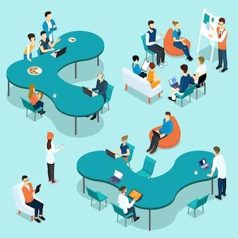 Insieme isometrico di persone di coworking