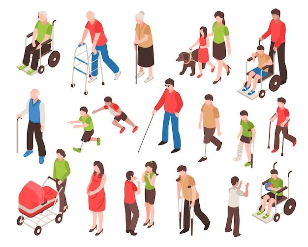 Insieme isometrico di persone disabili
